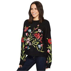 ROMEO & JULIET Floral Embroidered Ribbed Sweater